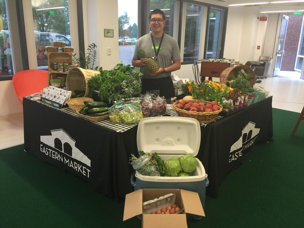 This stand was set up at a workplace, to make fresh produce shopping convenient.