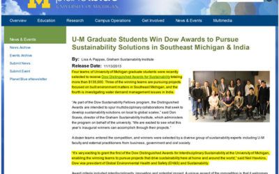 Erb students win Dow Distinguished Awards for Interdisciplinary Sustainability