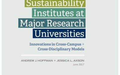 Examining Interdisciplinary Sustainability Institutes at Major Research Universities – Erb Faculty member, Andy Hoffman, co-authors report