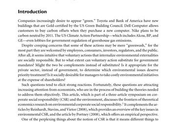 Corporate Social Responsibility and the Environment: A Theoretical Perspective