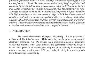 Why Do States Adopt Renewable Portfolio Standards?